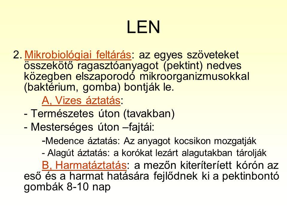 LEN 2. Mikrobiológiai feltárás: az egyes szöveteket összekötő ragasztóanyagot (pektint) nedves közegben elszaporodó mikroorganizmusokkal (baktérium, g