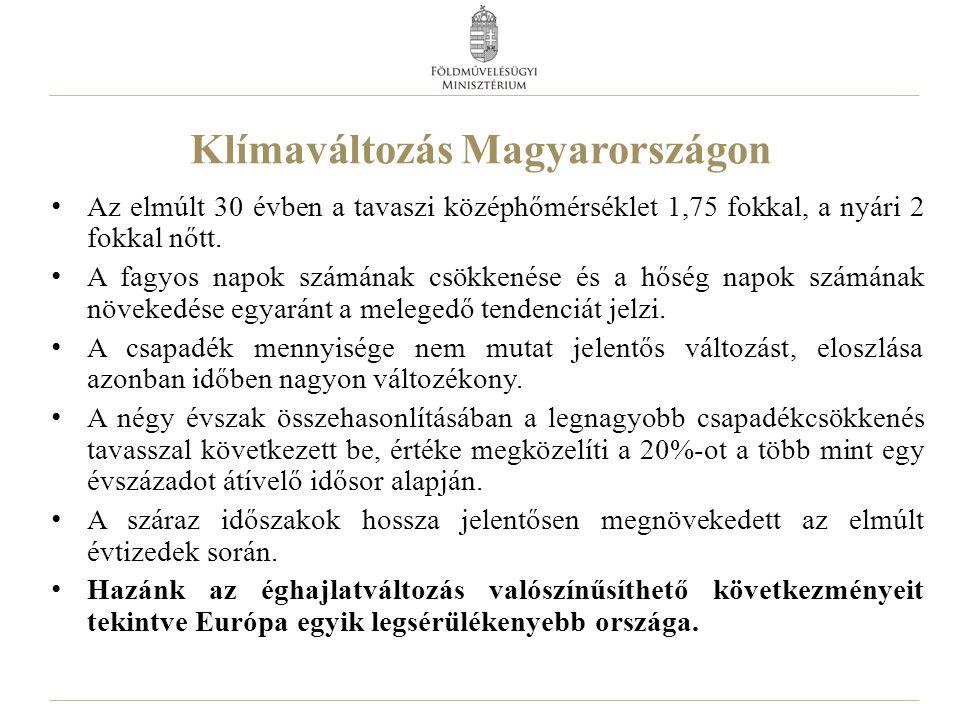 Klímaváltozás Magyarországon Az elmúlt 30 évben a tavaszi középhőmérséklet 1,75 fokkal, a nyári 2 fokkal nőtt. A fagyos napok számának csökkenése és a
