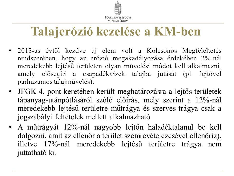 Talajerózió kezelése a KM-ben 2013-as évtől kezdve új elem volt a Kölcsönös Megfeleltetés rendszerében, hogy az erózió megakadályozása érdekében 2%-ná