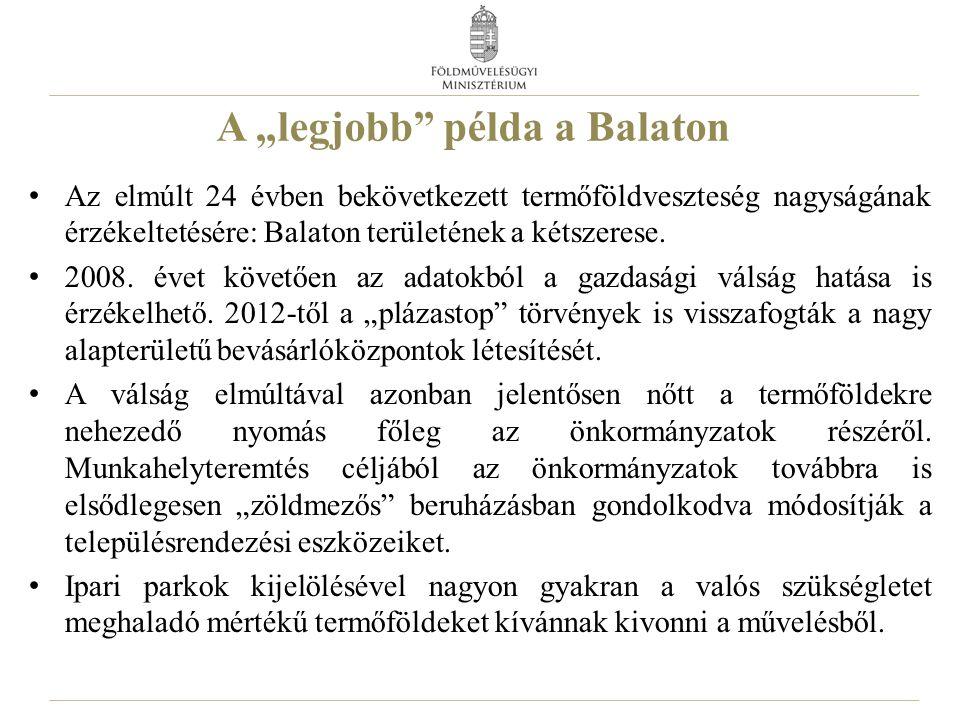 """A """"legjobb"""" példa a Balaton Az elmúlt 24 évben bekövetkezett termőföldveszteség nagyságának érzékeltetésére: Balaton területének a kétszerese. 2008. é"""