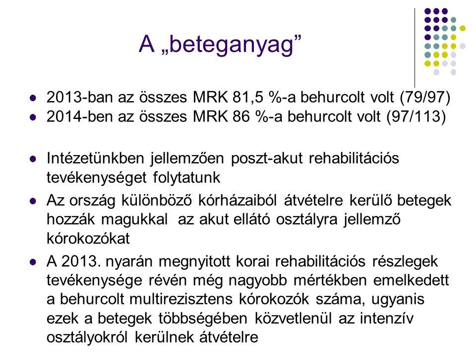 """A """"beteganyag"""" 2013-ban az összes MRK 81,5 %-a behurcolt volt (79/97) 2014-ben az összes MRK 86 %-a behurcolt volt (97/113) Intézetünkben jellemzően p"""