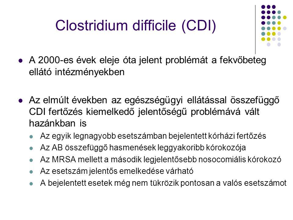 Clostridium difficile (CDI) A 2000-es évek eleje óta jelent problémát a fekvőbeteg ellátó intézményekben Az elmúlt években az egészségügyi ellátással