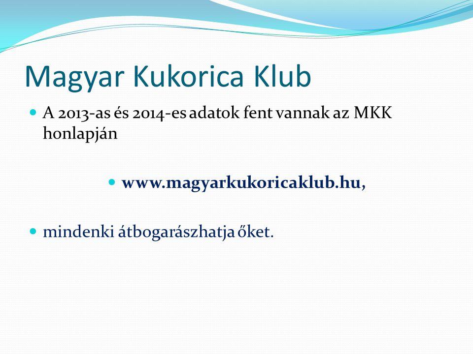 Magyar Kukorica Klub A 2013-as és 2014-es adatok fent vannak az MKK honlapján www.magyarkukoricaklub.hu, mindenki átbogarászhatja őket.