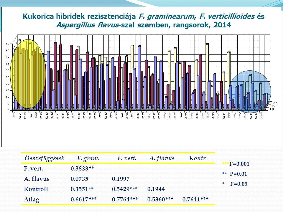 Kukorica hibridek rezisztenciája F. graminearum, F.
