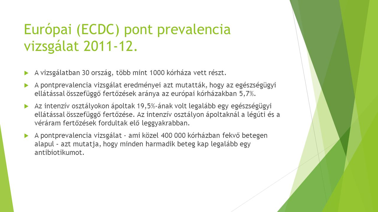 Európai (ECDC) pont prevalencia vizsgálat 2011-12.  A vizsgálatban 30 ország, több mint 1000 kórháza vett részt.  A pontprevalencia vizsgálat eredmé