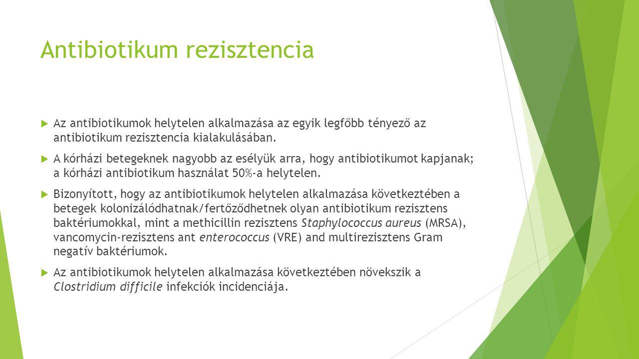 Antibiotikum rezisztencia  Az antibiotikumok helytelen alkalmazása az egyik legfőbb tényező az antibiotikum rezisztencia kialakulásában.  A kórházi