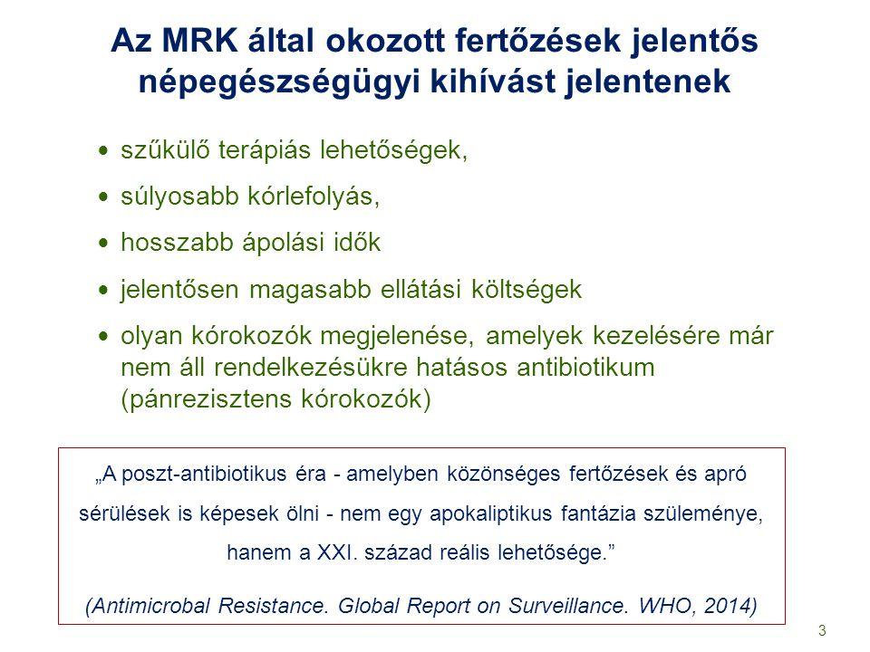 Helyzetértékelés a surveillance eredmények alapján Magas és növekvő trendet mutat: - a legtöbb nosocomiális kórokozó rezisztencia aránya, és előfordulási gyakorisága - a Clostridium difficile előfordulási gyakorisága az egyik legmagasabb Európában Rendkívül alacsony: - az alkoholos kéz fertőtlenítőszer felhasználás / 1000 ápolási nap - az egyágyas komfortos kórtermek aránya a kórházakban, ebből adódó izolációs lehetőségek - a haemokultúrák száma/ 1000 ápolási nap Alacsony szintű, és helytelen az antibiotikum felhasználás 14