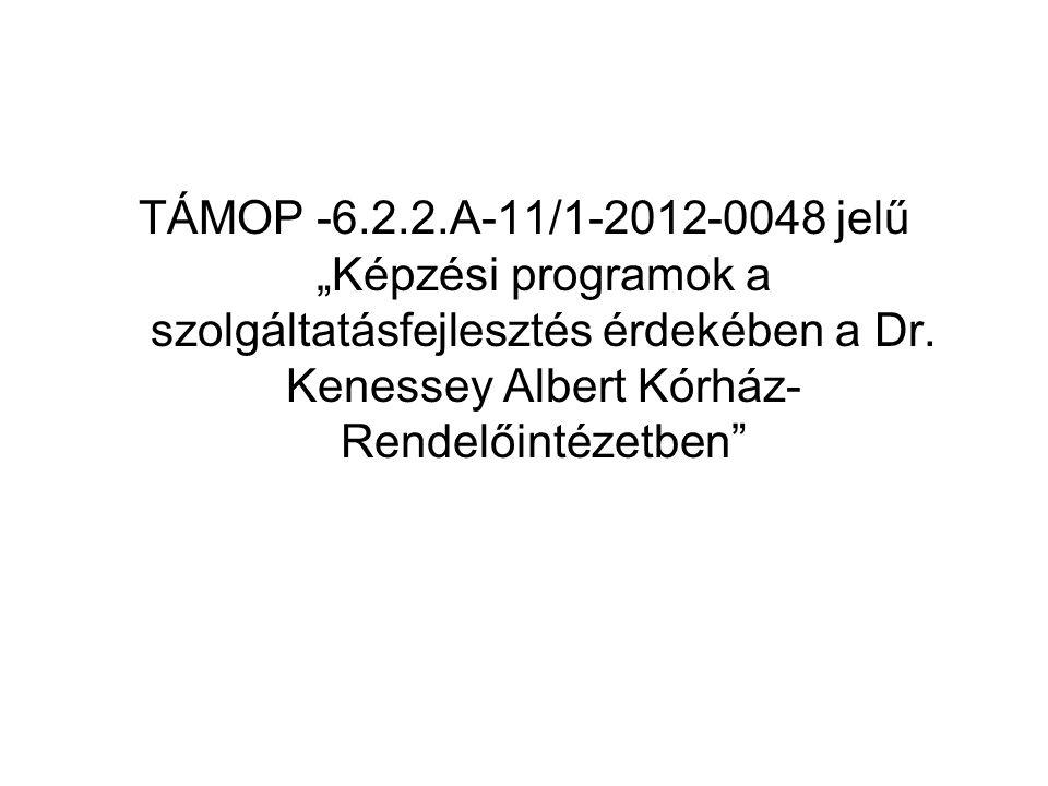 """TÁMOP -6.2.2.A-11/1-2012-0048 jelű """"Képzési programok a szolgáltatásfejlesztés érdekében a Dr. Kenessey Albert Kórház- Rendelőintézetben"""""""