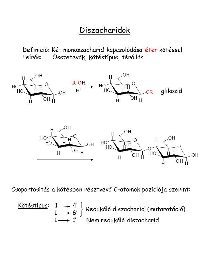 Diszacharidok Definició: Két monoszacharid kapcsolódása éter kötéssel Leírás: Összetevők, kötéstípus, térállás O H OH H H H H OHOH OH OH OH O H OH H H