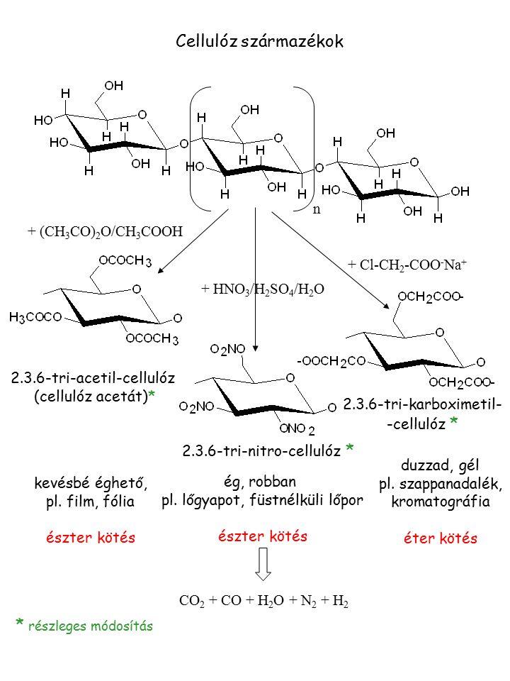 Cellulóz származékok n + (CH 3 CO) 2 O/CH 3 COOH + HNO 3 /H 2 SO 4 /H 2 O + Cl-CH 2 -COO - Na + 2.3.6-tri-acetil-cellulóz (cellulóz acetát)* 2.3.6-tri
