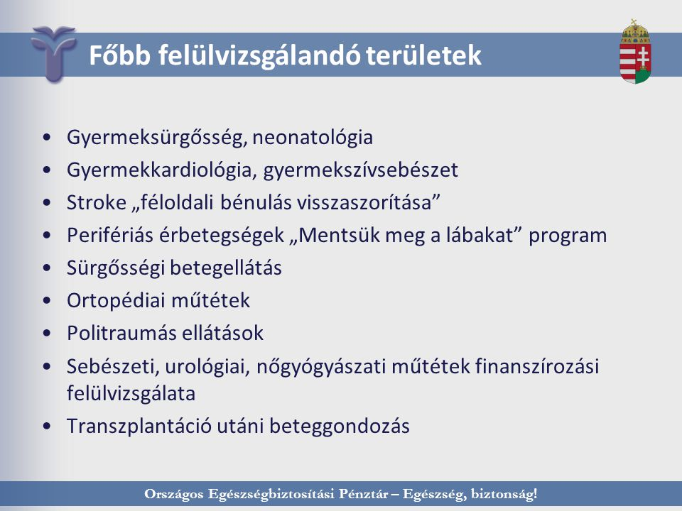 Országos Egészségbiztosítási Pénztár – Egészség, biztonság! Főbb felülvizsgálandó területek Gyermeksürgősség, neonatológia Gyermekkardiológia, gyermek