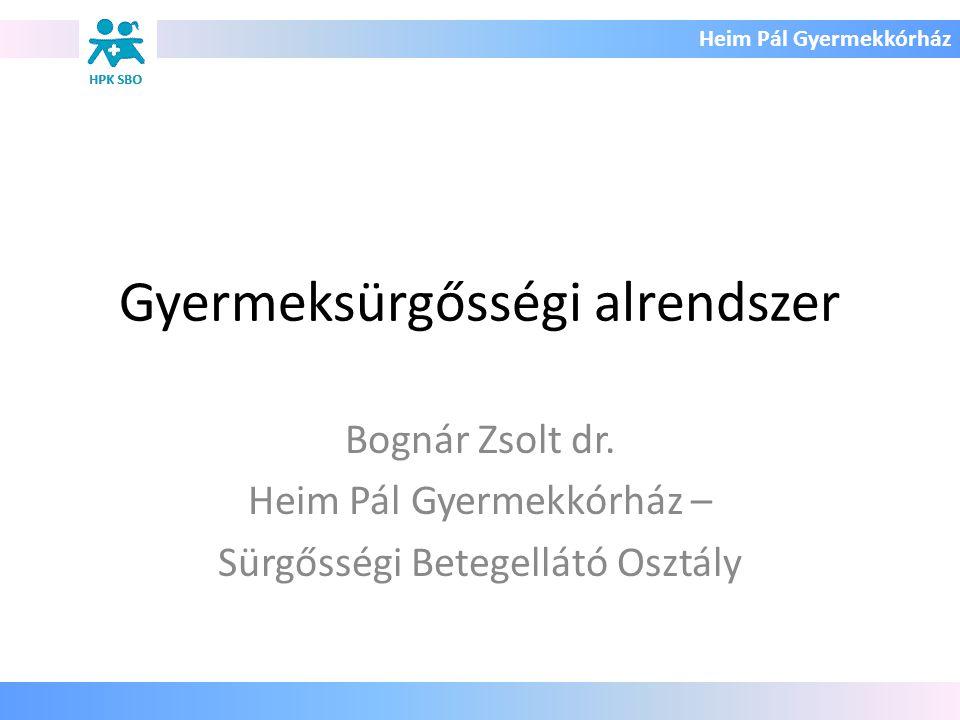 Heim Pál Gyermekkórház Gyermeksürgősségi alrendszer Bognár Zsolt dr. Heim Pál Gyermekkórház – Sürgősségi Betegellátó Osztály