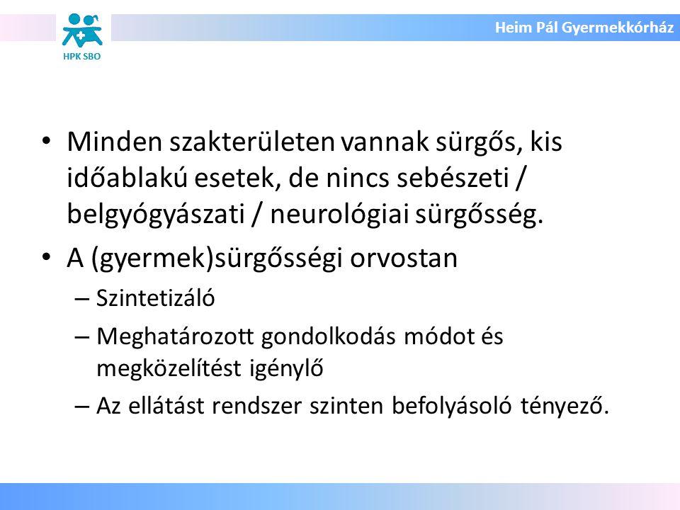 Heim Pál Gyermekkórház Minden szakterületen vannak sürgős, kis időablakú esetek, de nincs sebészeti / belgyógyászati / neurológiai sürgősség. A (gyerm