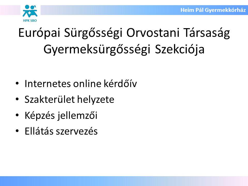 Heim Pál Gyermekkórház Európai Sürgősségi Orvostani Társaság Gyermeksürgősségi Szekciója Internetes online kérdőív Szakterület helyzete Képzés jellemz