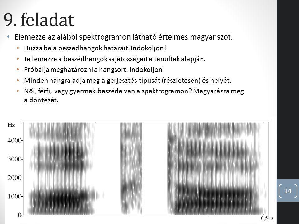 9. feladat Elemezze az alábbi spektrogramon látható értelmes magyar szót. Húzza be a beszédhangok határait. Indokoljon! Jellemezze a beszédhangok sajá