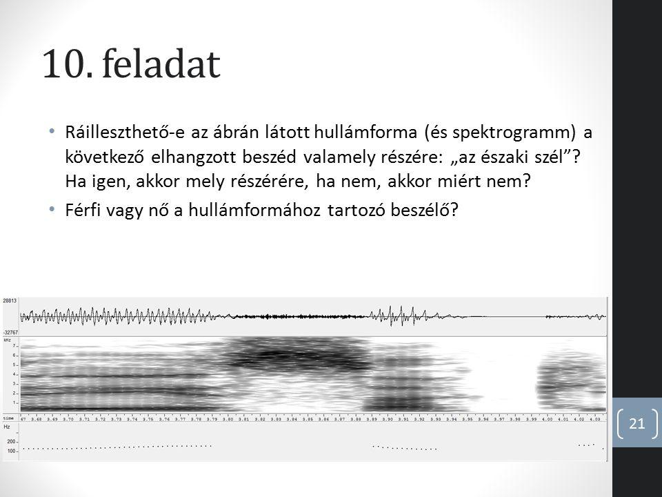 """10. feladat Ráilleszthető-e az ábrán látott hullámforma (és spektrogramm) a következő elhangzott beszéd valamely részére: """"az északi szél""""? Ha igen, a"""