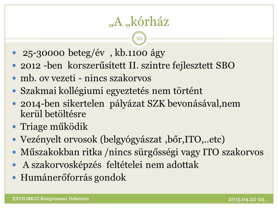 """""""A """"kórház 25-30000 beteg/év, kb.1100 ágy 2012 -ben korszerűsített II."""