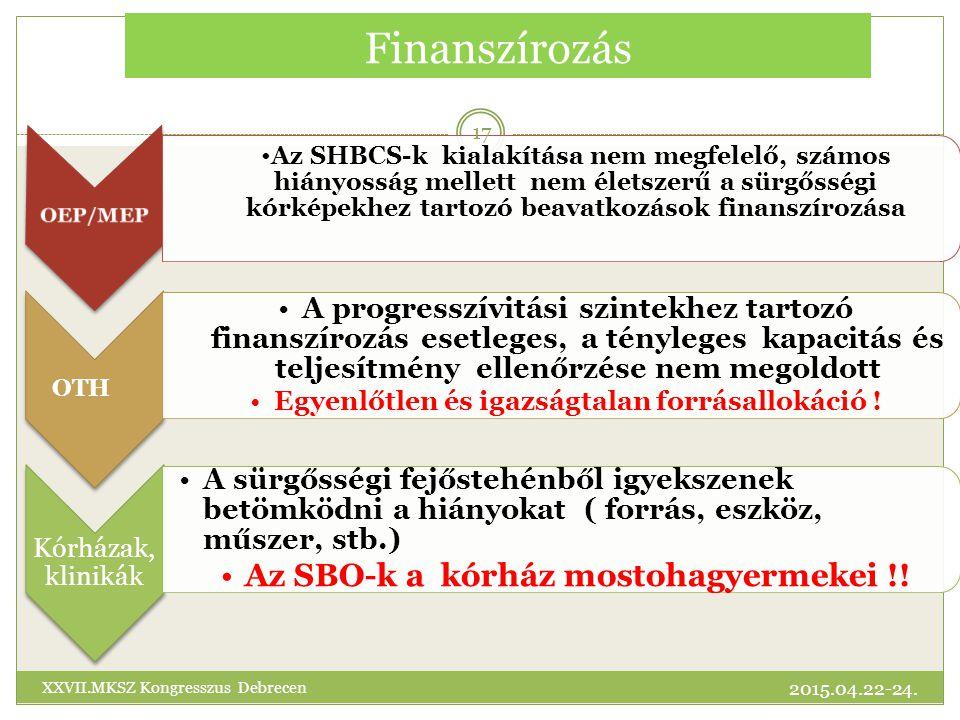 Finanszírozás Az SHBCS-k kialakítása nem megfelelő, számos hiányosság mellett nem életszerű a sürgősségi kórképekhez tartozó beavatkozások finanszírozása OTH A progresszívitási szintekhez tartozó finanszírozás esetleges, a tényleges kapacitás és teljesítmény ellenőrzése nem megoldott Egyenlőtlen és igazságtalan forrásallokáció .