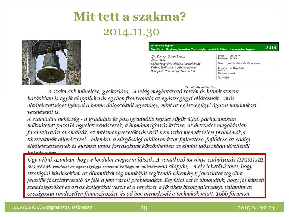 2015.04.22-24. XXVII.MKSZ Kongresszus Debrecen 19 Mit tett a szakma? 2014.11.30