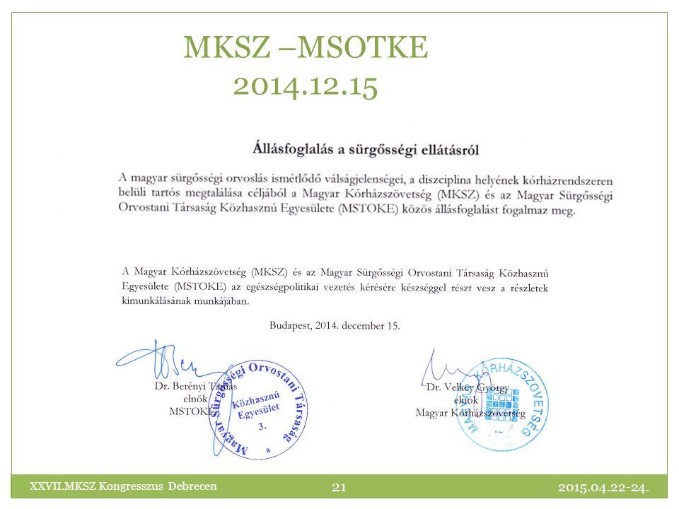 MKSZ –MSOTKE 2014.12.15 2015.04.22-24. 21 XXVII.MKSZ Kongresszus Debrecen