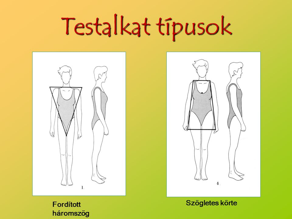 Testalkat típusok Fordított háromszög Szögletes körte
