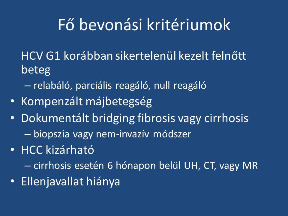 Fő bevonási kritériumok HCV G1 korábban sikertelenül kezelt felnőtt beteg – relabáló, parciális reagáló, null reagáló Kompenzált májbetegség Dokumentált bridging fibrosis vagy cirrhosis – biopszia vagy nem-invazív módszer HCC kizárható – cirrhosis esetén 6 hónapon belül UH, CT, vagy MR Ellenjavallat hiánya