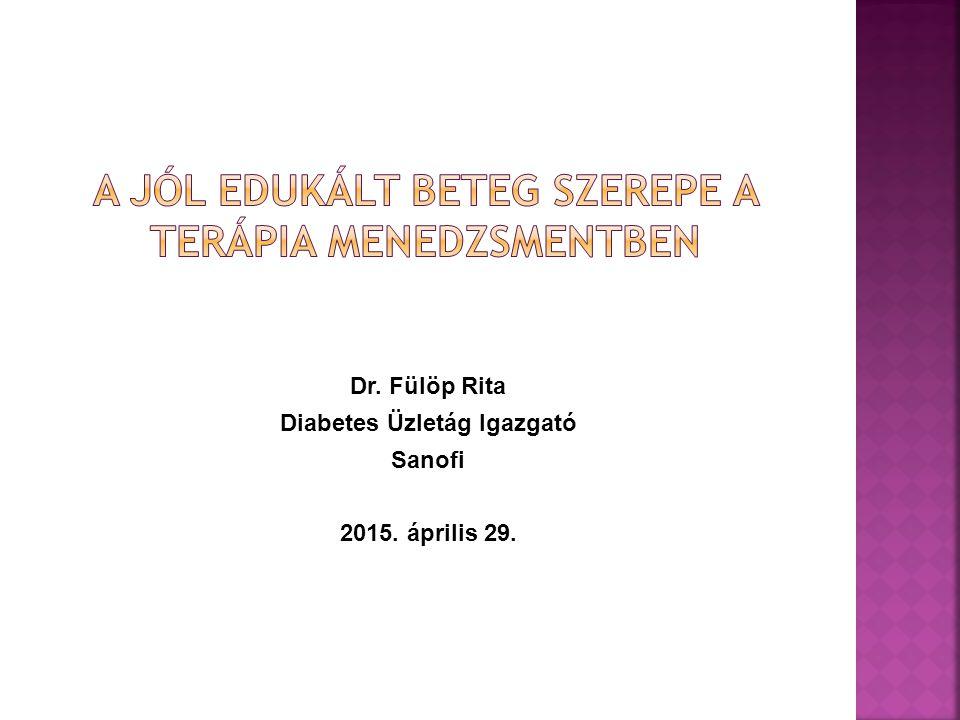 Dr. Fülöp Rita Diabetes Üzletág Igazgató Sanofi 2015. április 29.