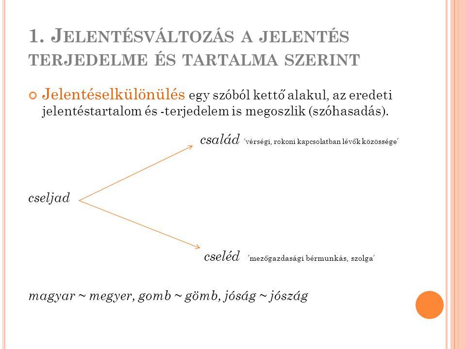 1. J ELENTÉSVÁLTOZÁS A JELENTÉS TERJEDELME ÉS TARTALMA SZERINT Jelentéselkülönülés egy szóból kettő alakul, az eredeti jelentéstartalom és -terjedelem