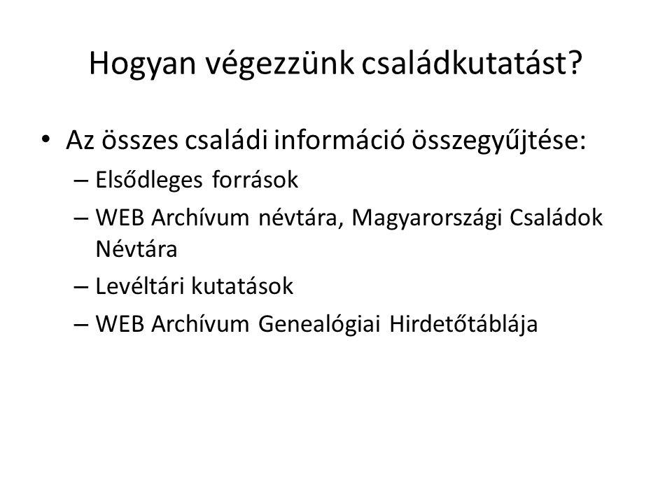 Hogyan végezzünk családkutatást? Az összes családi információ összegyűjtése: – Elsődleges források – WEB Archívum névtára, Magyarországi Családok Névt