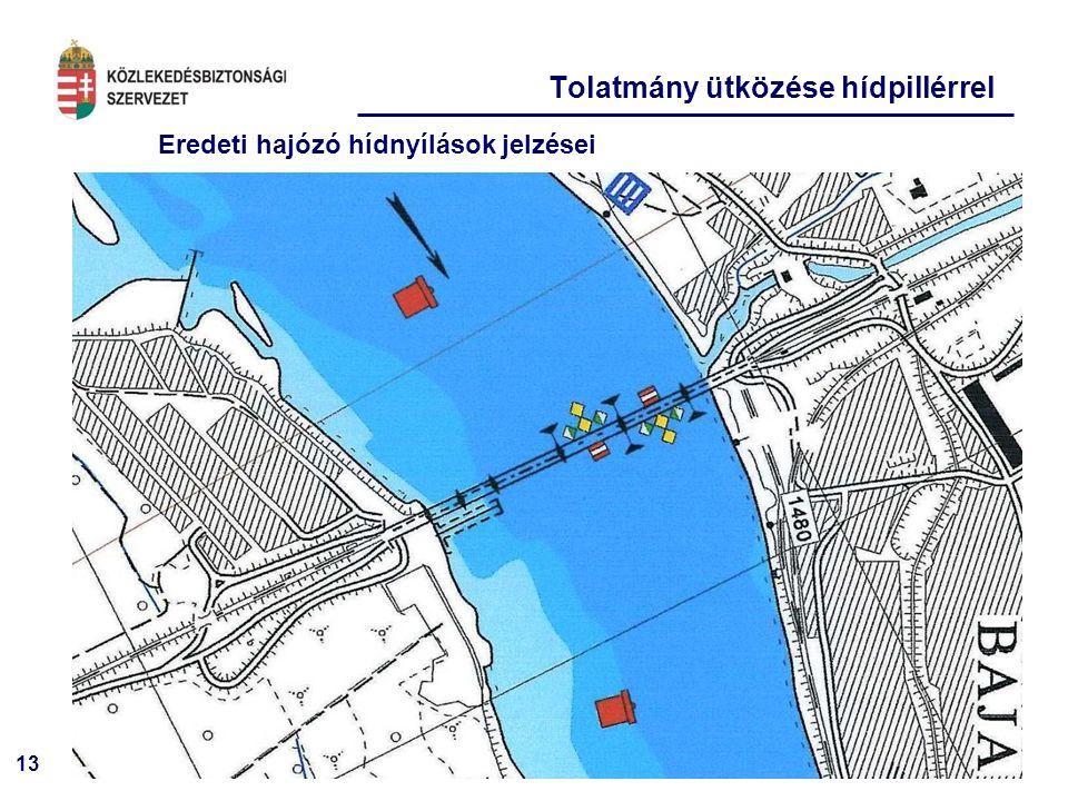 13 Eredeti hajózó hídnyílások jelzései Tolatmány ütközése hídpillérrel