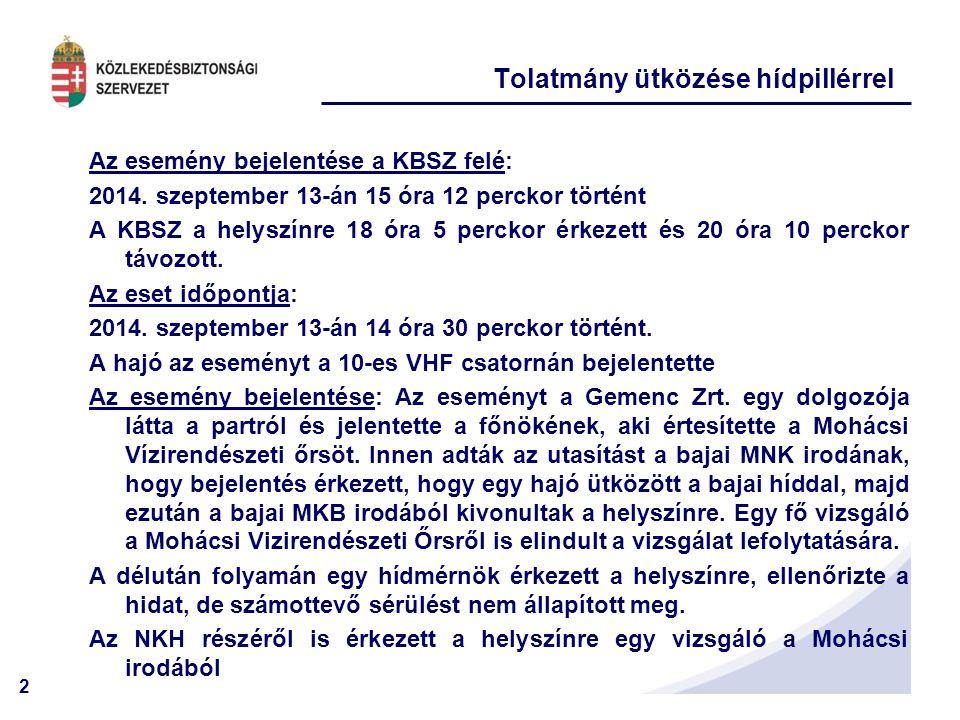 2 Tolatmány ütközése hídpillérrel Az esemény bejelentése a KBSZ felé: 2014.