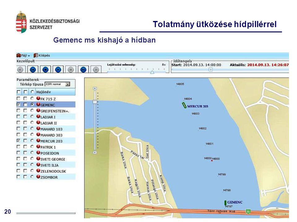 20 Tolatmány ütközése hídpillérrel Gemenc ms kishajó a hídban