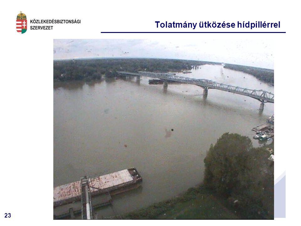 23 Tolatmány ütközése hídpillérrel