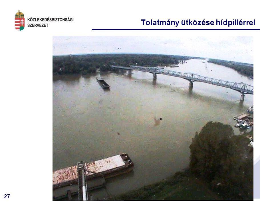 27 Tolatmány ütközése hídpillérrel