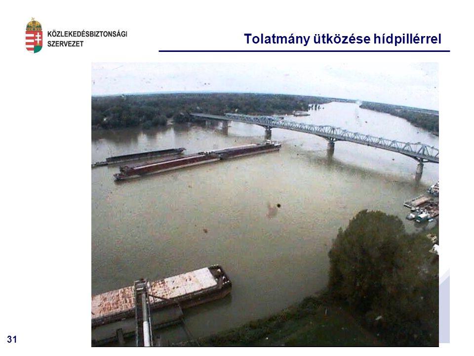 31 Tolatmány ütközése hídpillérrel