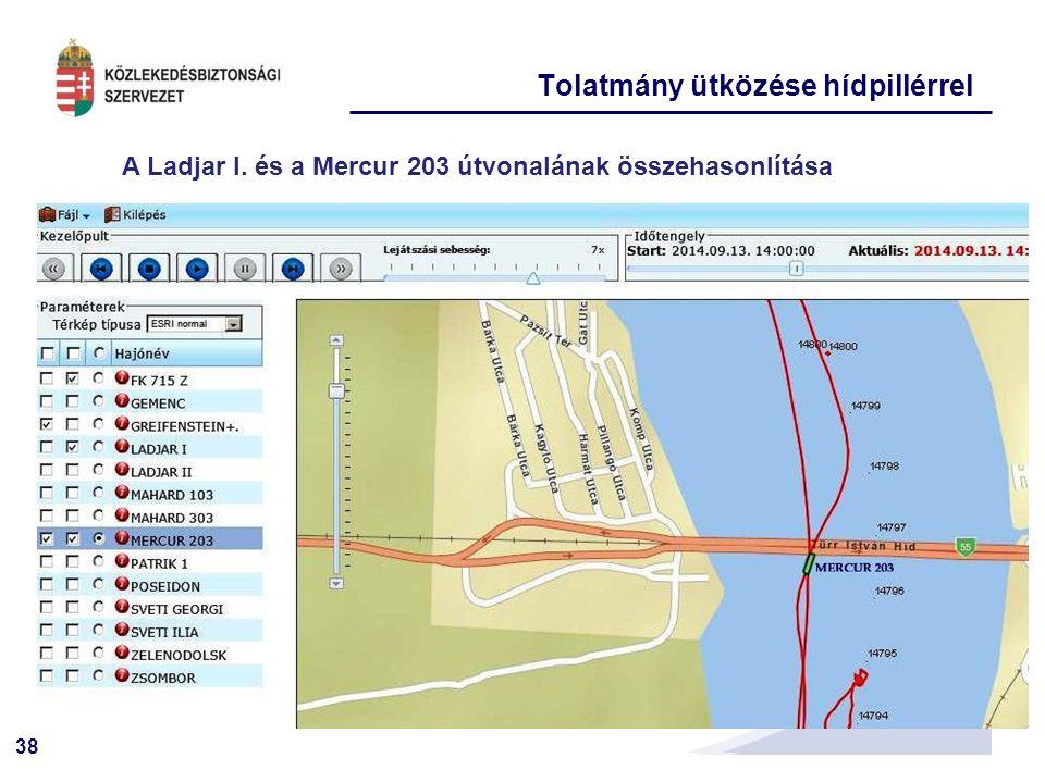 38 A Ladjar I. és a Mercur 203 útvonalának összehasonlítása Tolatmány ütközése hídpillérrel