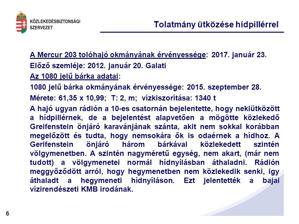 6 A Mercur 203 tolóhajó okmányának érvényessége: 2017.