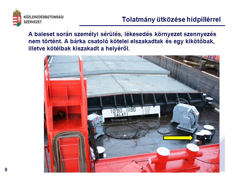 9 A baleset során személyi sérülés, lékesedés környezet szennyezés nem történt.