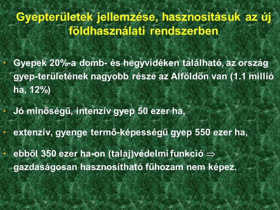Gyepterületek jellemzése, hasznosításuk az új földhasználati rendszerben Gyepek 20%-a domb- és hegyvidéken található, az ország gyep-területének nagyo