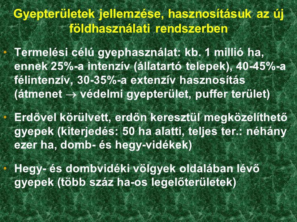 Gyepterületek jellemzése, hasznosításuk az új földhasználati rendszerben Termelési célú gyephasználat: kb. 1 millió ha, ennek 25%-a intenzív (állatart