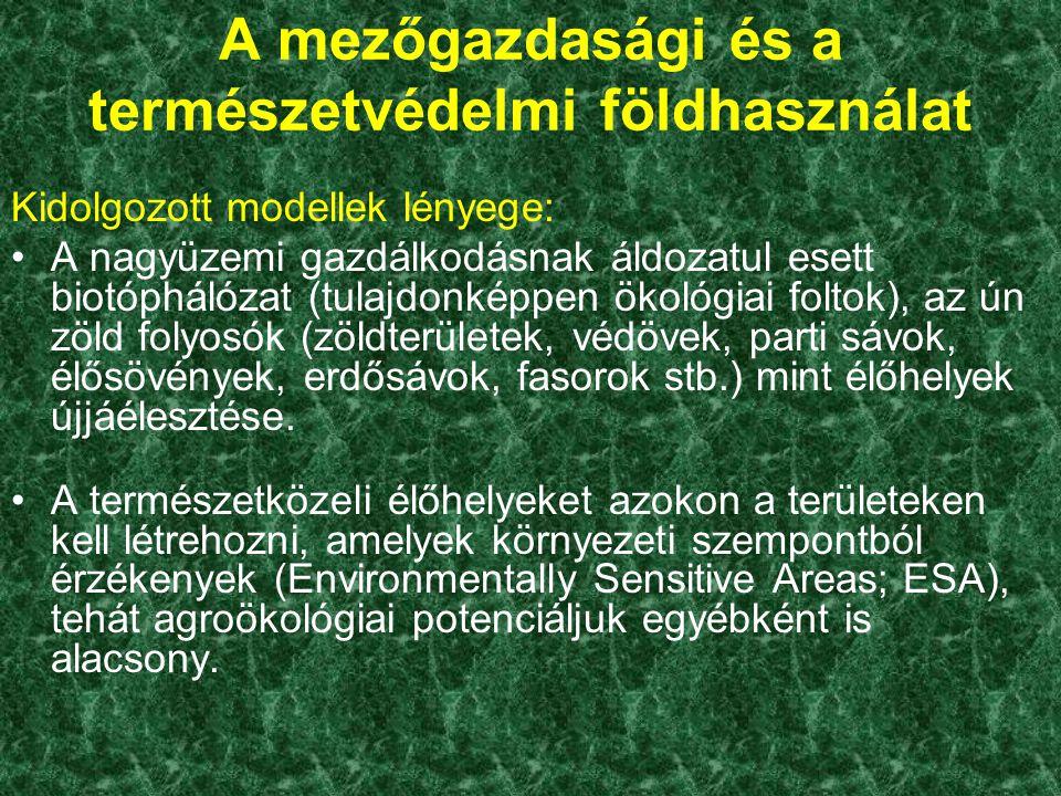 A mezőgazdasági és a természetvédelmi földhasználat Kidolgozott modellek lényege: A nagyüzemi gazdálkodásnak áldozatul esett biotóphálózat (tulajdonké