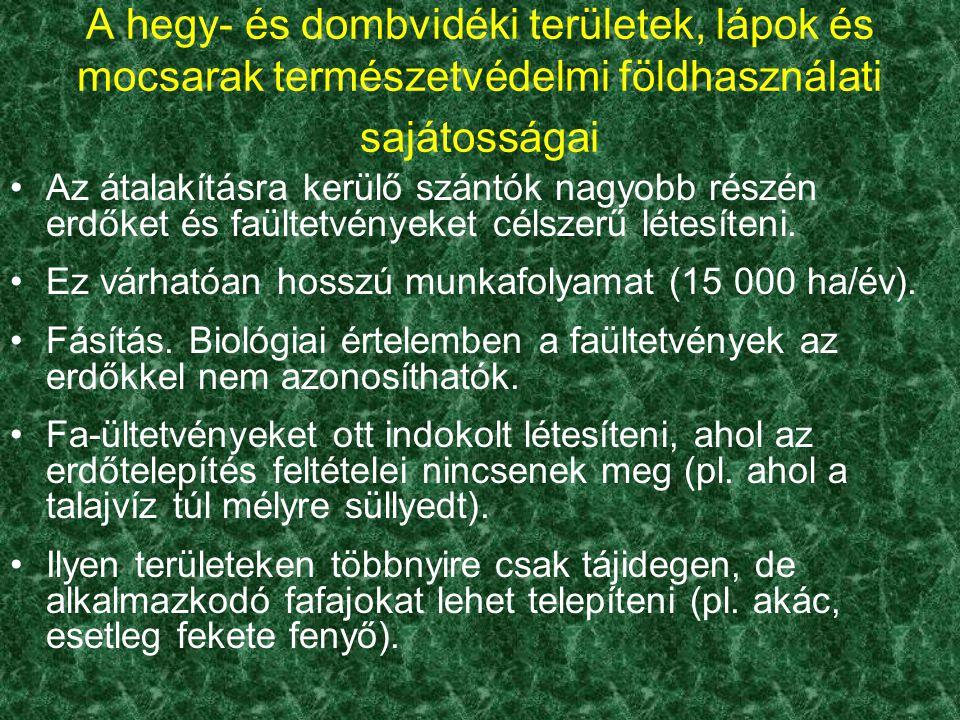 Az átalakításra kerülő szántók nagyobb részén erdőket és faültetvényeket célszerű létesíteni. Ez várhatóan hosszú munkafolyamat (15 000 ha/év). Fásítá