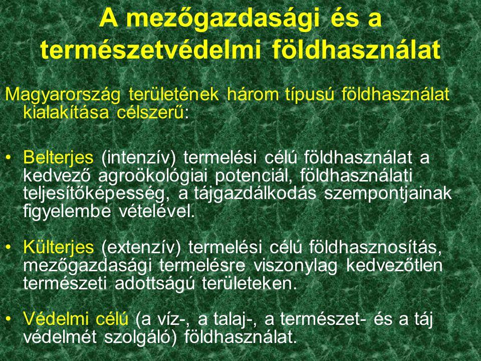A mezőgazdasági és a természetvédelmi földhasználat Magyarország területének három típusú földhasználat kialakítása célszerű: Belterjes (intenzív) ter