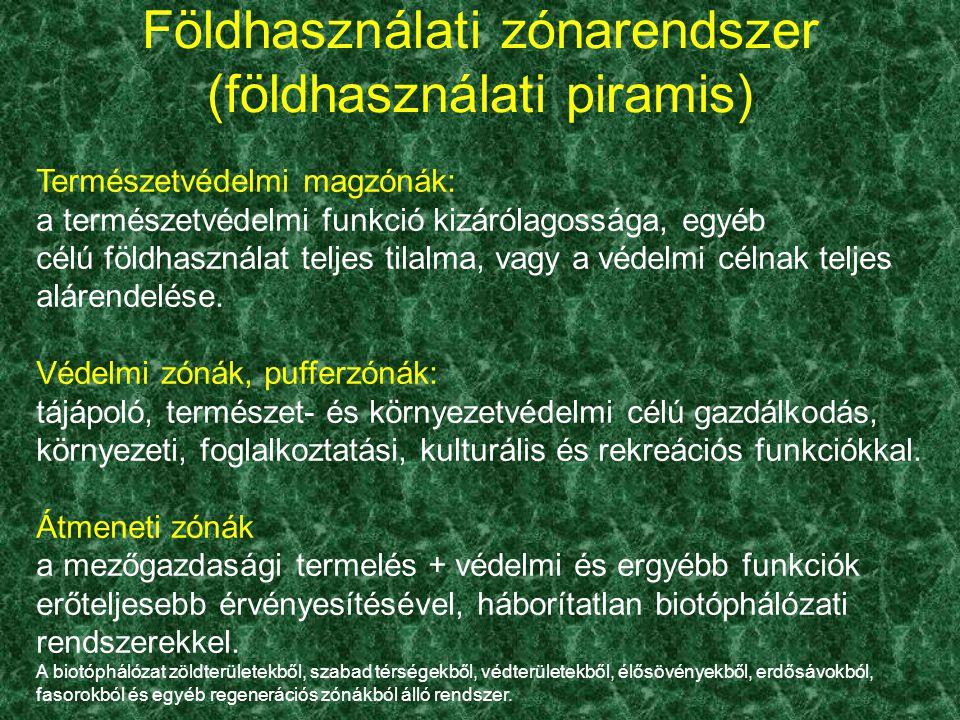 Földhasználati zónarendszer (földhasználati piramis) Természetvédelmi magzónák: a természetvédelmi funkció kizárólagossága, egyéb célú földhasználat t