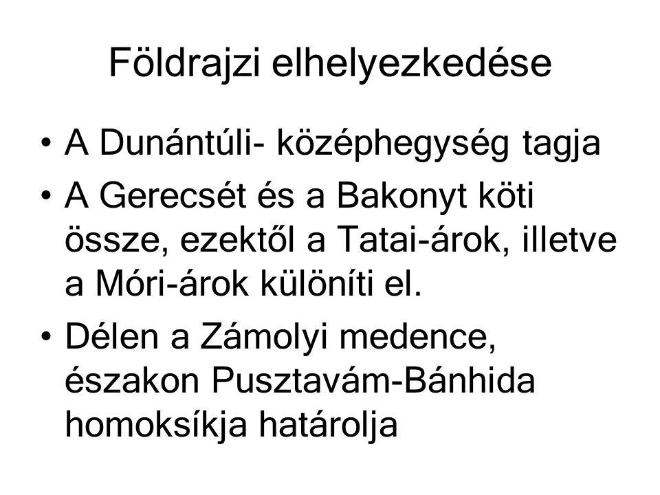 Földrajzi elhelyezkedése A Dunántúli- középhegység tagja A Gerecsét és a Bakonyt köti össze, ezektől a Tatai-árok, illetve a Móri-árok különíti el. Dé
