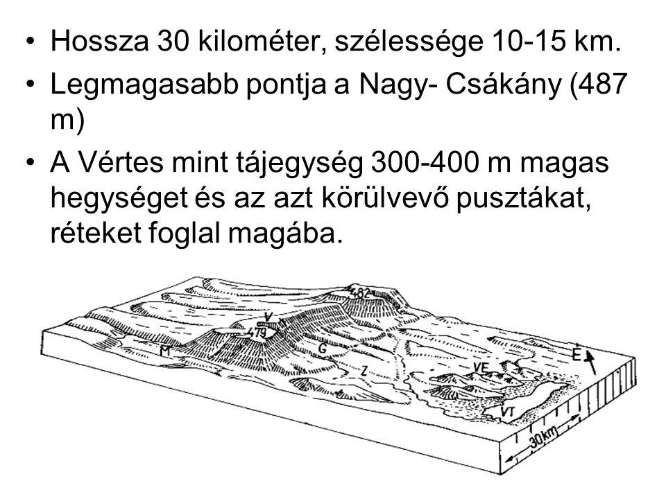 Hossza 30 kilométer, szélessége 10-15 km. Legmagasabb pontja a Nagy- Csákány (487 m) A Vértes mint tájegység 300-400 m magas hegységet és az azt körül