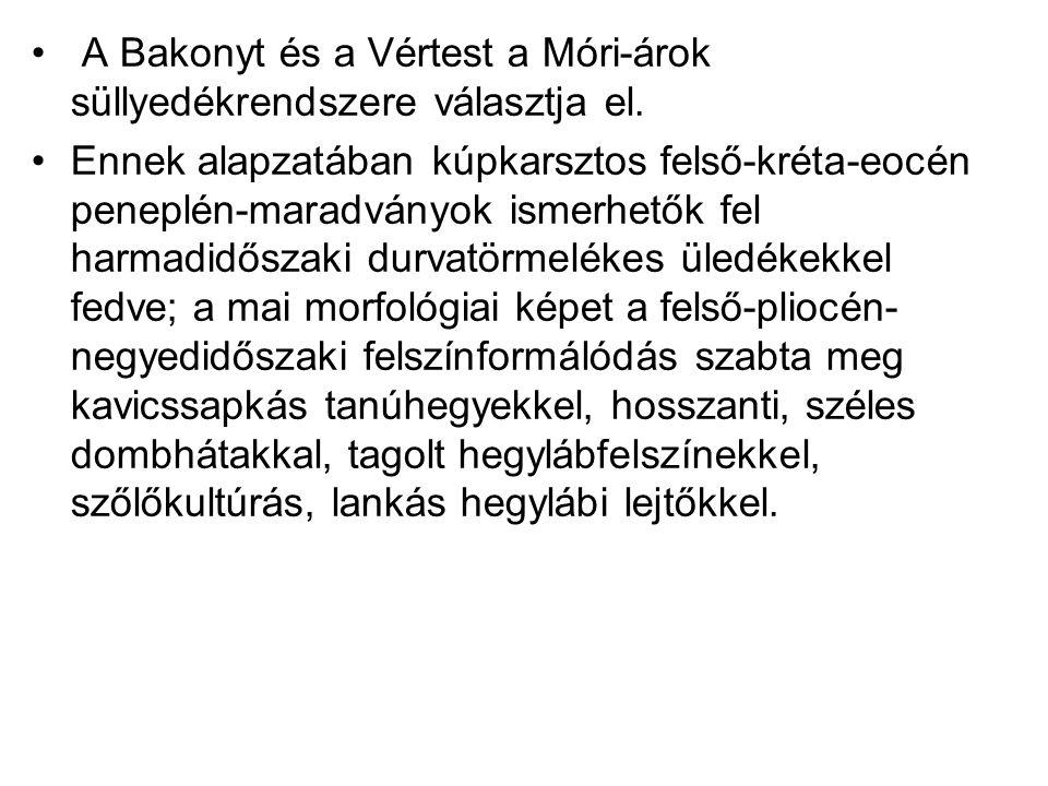 A Bakonyt és a Vértest a Móri-árok süllyedékrendszere választja el.