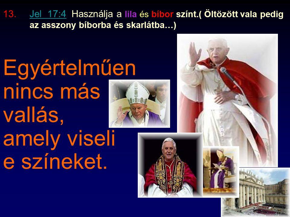 11.Jel 13:15 Megparancsolja,hogy öljék meg, aki nem imádja őt.Jel 13:15 A pápai rendszer volt,ami vezette Hitlert, hogy elpusztítson több mint 6 milli