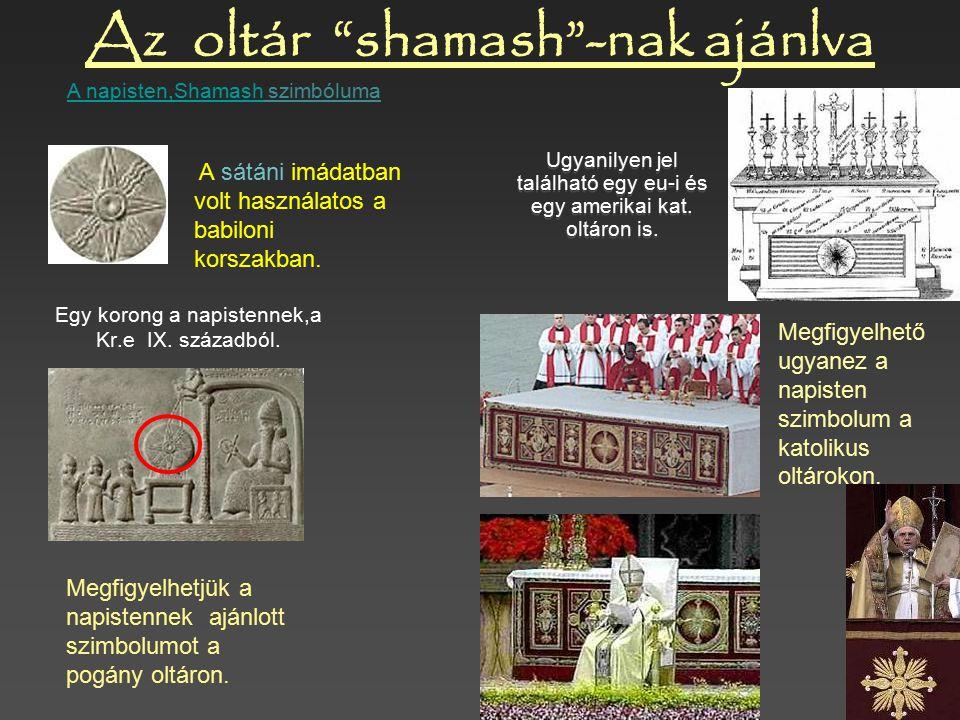 A hasonlóság hihetetlen!!!... a Sátán egy papja 1. Tiara 4. A napimádat szimboluma 3. Pogány imádati kereszt 2. Tiara palást Antik pogány király Ashur