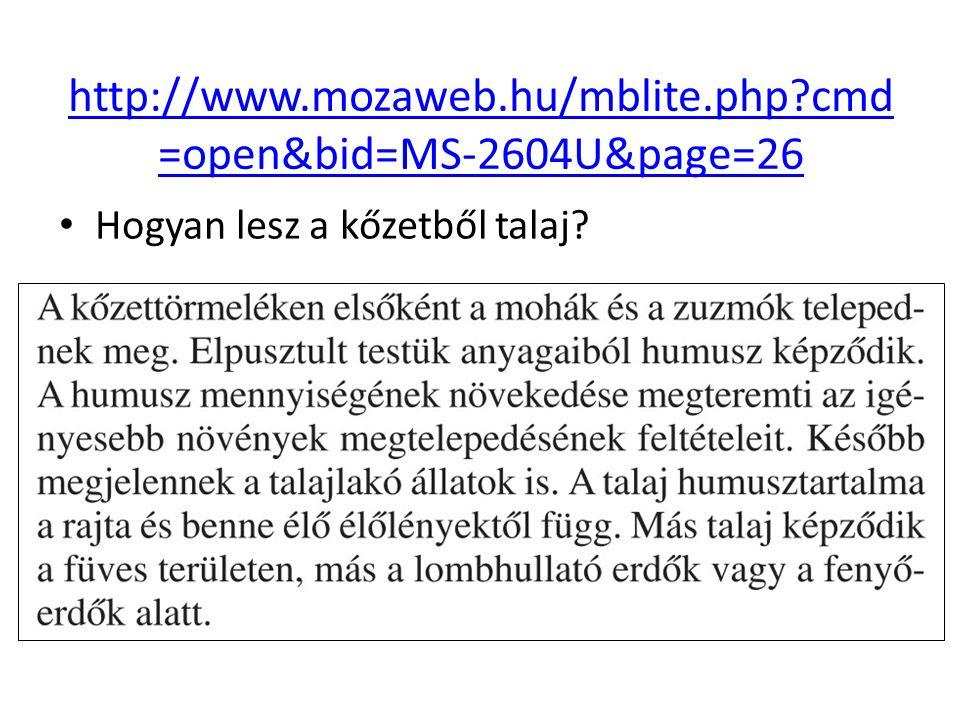 Hogyan lesz a kőzetből talaj? http://www.mozaweb.hu/mblite.php?cmd =open&bid=MS-2604U&page=26